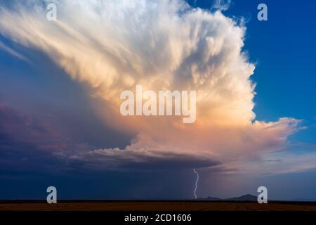 Thunderstorm cumulonimbus cloud with lightning at sunset over Ironwood Forest National Monument, Arizona, USA. - Stock Photo