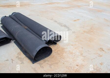 Waterproofing material for road construction. Construction material. Membrane for waterproofing. Rolls of insulation material
