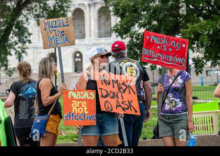 St. Paul, Minnesota. Protest to unmask Minnesota.  Protesters not wearing masks rally to undo the mandatory mask wearing put in place by governor Walz - Stock Photo