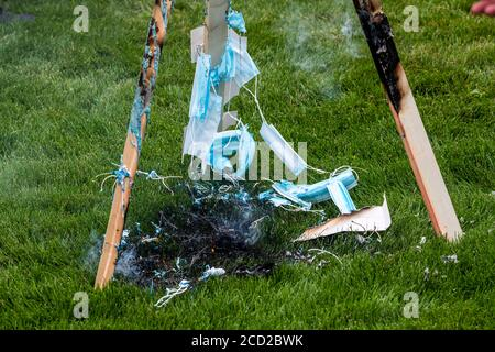 St. Paul, Minnesota. Protest to unmask minnesota.  Protesters burn masks at the rally to defy the mandatory mask wearing put in place by governor Walz - Stock Photo