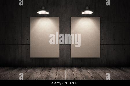 big dark gloomy concrete room with posters, lit by lamps - Stock Photo
