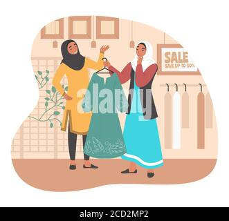 Happy muslim girl shopping in women clothing store, flat vector illustration - Stock Photo