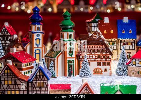 Nuremberg, world-famous Christkindlesmarkt Christmas Market winter fair in Bavaria, Germany - Stock Photo