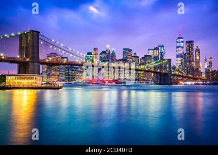 New York, United States of America - Panoramic view of Lower Manhattan, Brooklyn Bridge and Freedem Tower.