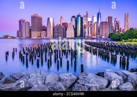 New York. Stunning view of lower Manhattan Skyline from Brooklyn, United States of America.