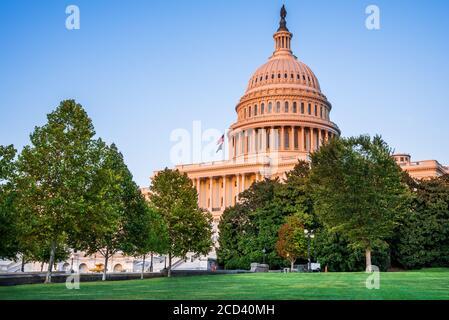 Washington DC, USA - The United States Capitol building at twilight.