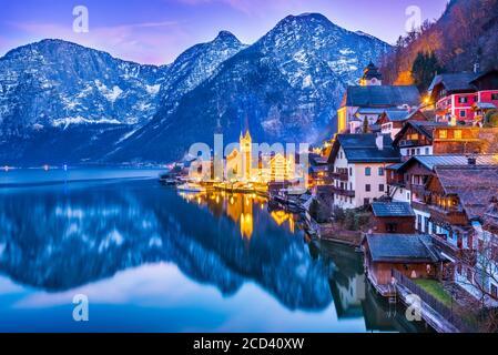 Hallstatt, Austria - Scenic picture, postcard view of famous Hallstatt, UNESCO mountain village in Upper Austria, Salzkammergut region.