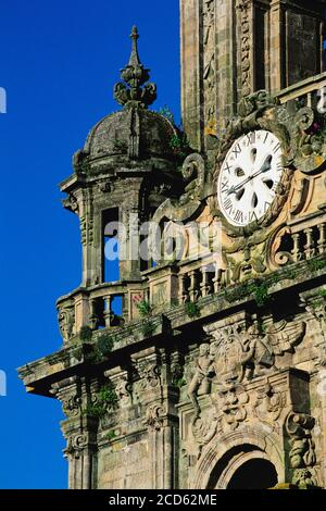 Clock tower of Santiago De Compostela Cathedral, Santiago De Compostela, Galicia, Spain