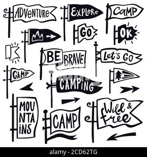 Adventure hiking pennant. Hand drawn camping pennant flag, vintage lettering flags, tourist quotation pennants vector illustration icons set - Stock Photo