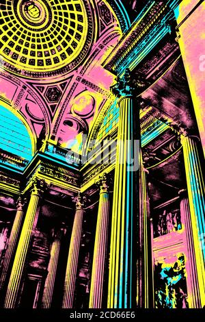 Paris, France, july 11, 2017. Inside view of Pantheon with high ceiling and fancy columns in Paris, the French capital. Blacklight Poster filter. - Stock Photo