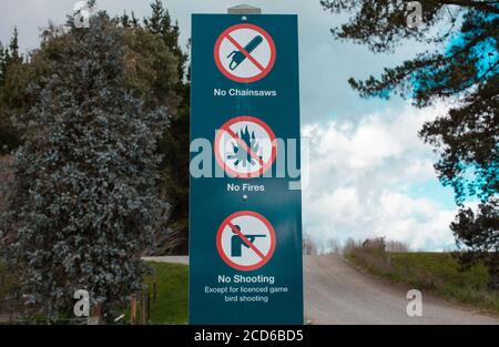 New Zealand Countryside Scenes: iconic road-signs and warnings. - Stock Photo