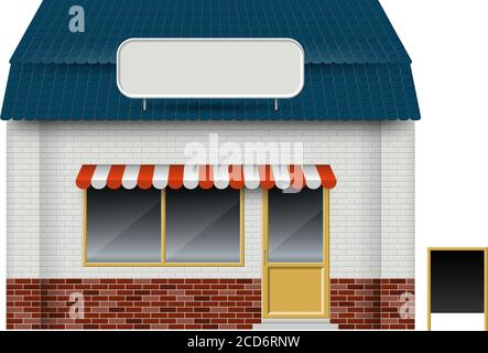 Store or cafe front view on white background. Isolated vector illustration of exterior facade building - Stock Photo