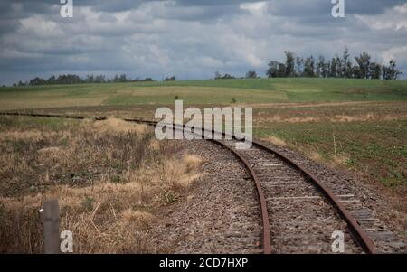 View of train tracks from an abandoned and deactivated railway line in southern Brazil. Unused transport infrastructure. Technology used and outdated