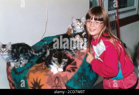 Bildreportage: Linn Westedt spielt mit kleinen Katzen.