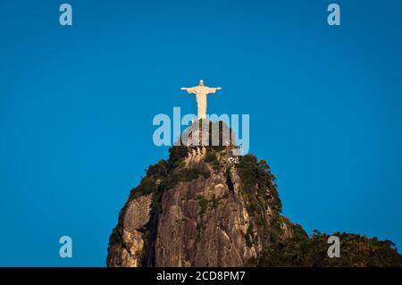 The famous landmark of Rio de Janeiro - Christ the Redeemer statue on the Corcovado mountain - Stock Photo