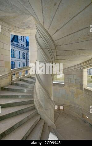 France, Loir-et-Cher, Loire valley listed as World Heritage by UNESCO, castle of Chambord, the staircase of the chapel's wing