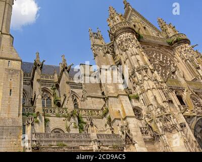 Detail of the front facade of the ornate gothic Cathedral of Senlis, Picardy, France