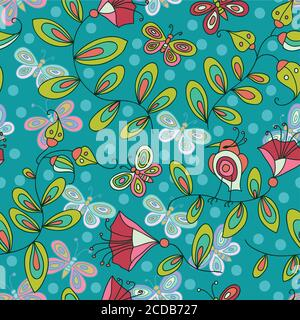 Cute seamless pattern with flowers birds and butterflies
