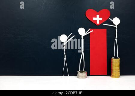 Stick figure reaching for a red heart shape with cross cutout while stepping on stack of coins. Healthcare, medical care and hospital access inequality.