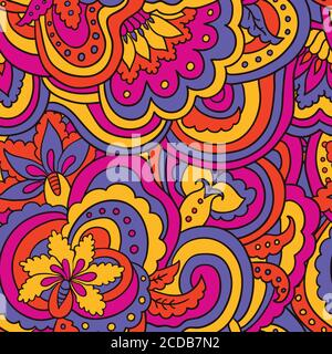 Psychedelic colorful floral seamless pattern - Stock Photo