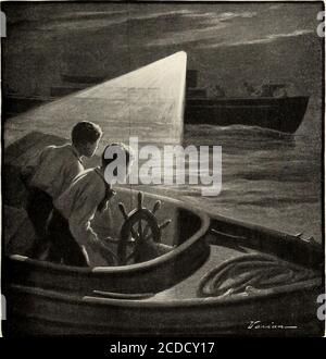 . St. Nicholas [serial] . was enthused by the idea. I 11do it ! said he. He ran back and pushedthe little sail-boat out into deep water; whenhe had waded beyond his waist he gave her afinal push that sent her out into the channel. As he came back to the beach he heardonce more the voices of the men approaching.It s too late! he whispered. They recoming! It s our only chance to get off this island—now the Ready has gone, said Bob, hisvoice trembling with excitement. Come on ! The two boys started down the beach in arace for the launch. As they tugged away toget her into deep water, the lantern - Stock Photo