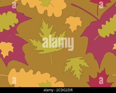 Autumn leaves seamless pattern. Falling leaves, leaf fall. Oak and maple. Background for wrapping paper, print, fabric and printing. Vector illustrati