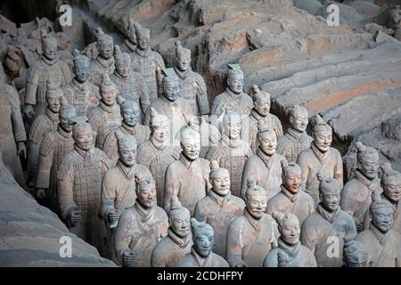 Terracotta Army, sculptures of soldiers depicting the armies of Qin Shi Huang, first Emperor of China near Xi'an / Sian, Lintong District, Shaanxi - Stock Photo