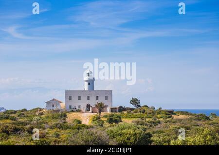 Italy, Sardinia, Costa Smeralda, Porto Cervo, Capo Ferro, Capo Ferro Lighthouse - Stock Photo