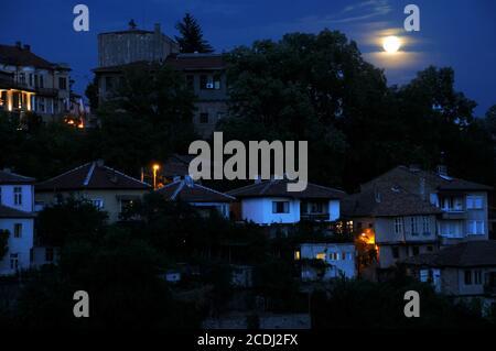 Moonlight Night in Veliko Tarnovo - Stock Photo