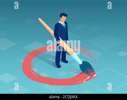 Vector of a business man drawing a red circle around himself. - Stock Photo