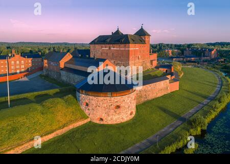 The ancient fortress of the city of Hameenlinna close-up on a sunny July morning (shot from a quadcopter). Finland - Stock Photo