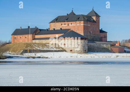 Ancient fortress-prison in the town of Hameenlinna close-up on a sunny March day. Finland - Stock Photo