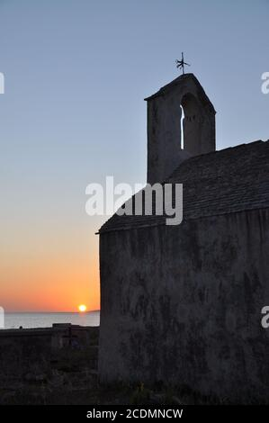 Church Sveta Nikola on Pag, evening Stock Photo