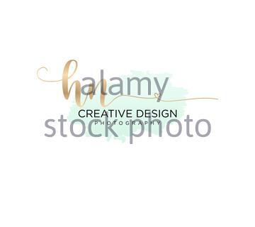 Initial HN handwriting logo with brush template vector - Stock Photo