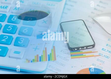 Calculators and Financial Statements Stock Photo
