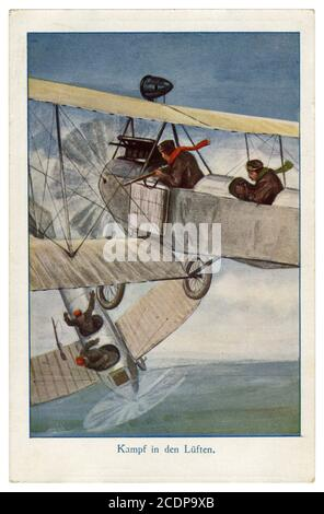 German historical postcard: Fight in the air at the dawn of aviation: rifle duel pilots of two airplanes, the pilot of the enemy plane was killed, wwi - Stock Photo