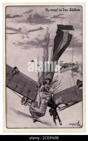 German historical postcard: Air battle. The enemy plane is shot down and falls apart. Enemy pilot shot dead, Germany, world war one 1914-1918. - Stock Photo