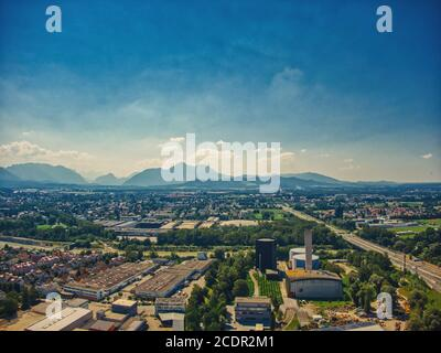 Salzburg aerial view of the mountains on summer time