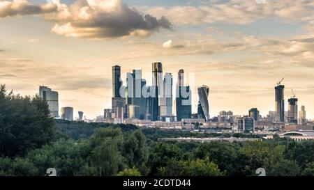 Moscow-City skyscrapers, Russia. It is business district in Moscow city center. Urban landscape of Moscow with complex of contemporary office building