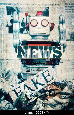 fake news concept wirh toy robots