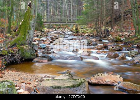the river Ilse at Ilsenburg at the foot of the Brocken in the Harz National Park - Stock Photo
