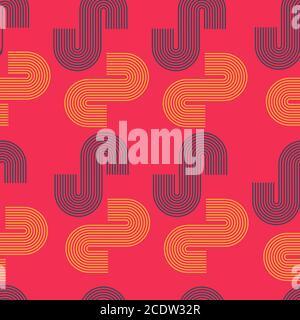 Seamless geometric vector pattern on a dark pink background
