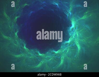 glowing green curved lines in shape of black hole over dark Abstract Background space universe. Illustration - Stock Photo