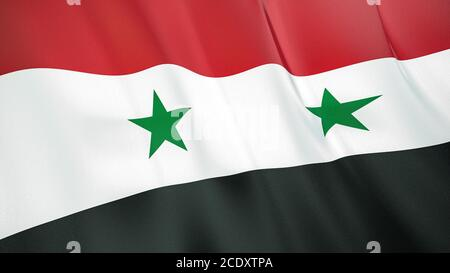 The waving flag of Syria . High quality 3D illustration. Perfect for news, reportage, events. - Stock Photo
