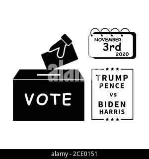 2020 US Presidential Election on November 3rd. Cast Voting Ballots Votes for Donald Trump and Mike Pence vs Joe Biden and Kamala Harris. Black and Whi - Stock Photo