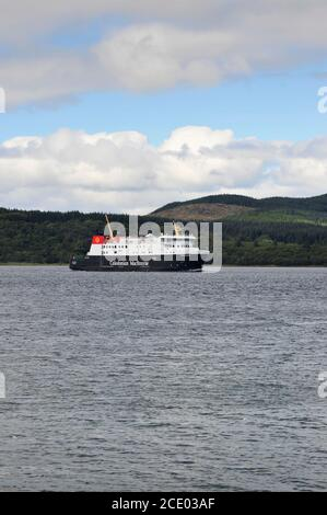 Islay Ferry Finlaggan arriving at Kennacraig Terminal Scotland UK - Stock Photo