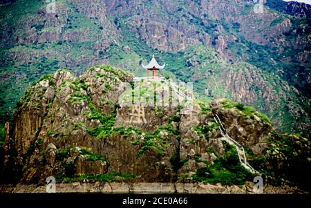 old photo of Chinese Pavillion on a hill - Stock Photo