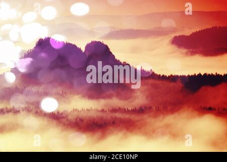 Film effect.Pink daybreak in hilly landcape. Autumn misty morning in a beautiful hills. Peaks of trees Stock Photo