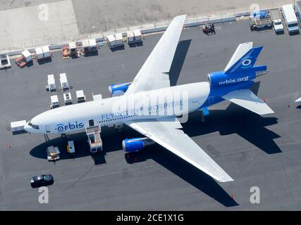 Orbis Flying Eye Hospital Douglas DC-10 aircraft. Aerial hospital to prevent blindness and eye diseases. Project Orbis McDonnell Douglas MD-10. N330AU - Stock Photo