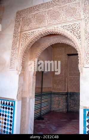 Amazing arches, Moorish tiles, and arabesque details of Alhambra de Granada in southern Spain showcase Islamic architecture styles.